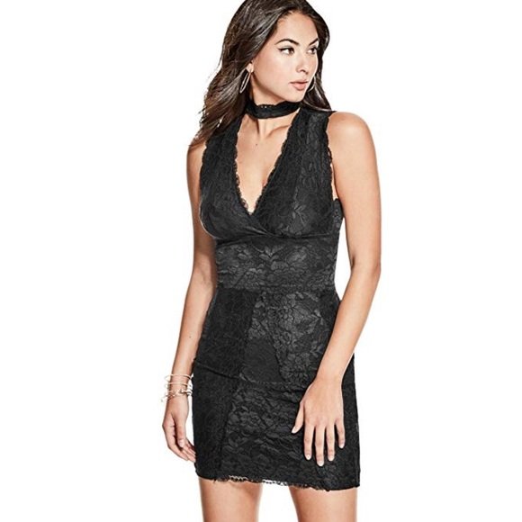 Guess Lace Choker Dress Jet Black Nwt